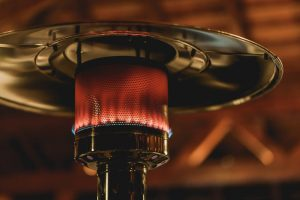 Close up view of gas-fired outdoor patio heater