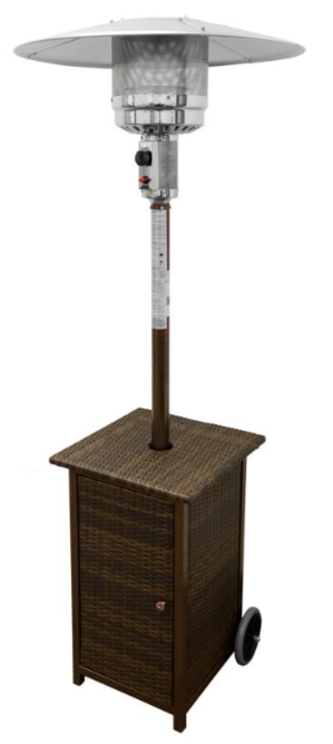 "87"" Tall Square Wicker Outdoor Patio Heater With Table-Resin Wicker"