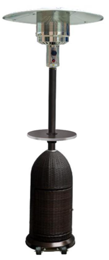 "87"" Tall Outdoor Resin Wicker Patio Heater with Table"
