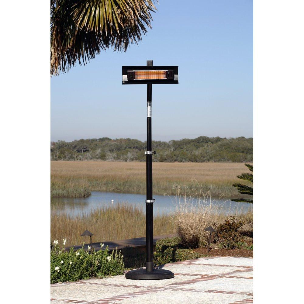 Black Powder Coated Steel Telescoping Offset Pole Mounted Infrared Patio Heater - Fire Sense