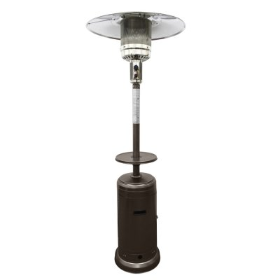 "87"" Tall Outdoor Patio Heater with Table-Hammered Bronze"